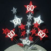 Star age 60th birthday cake topper decoration in red and silver - free postage